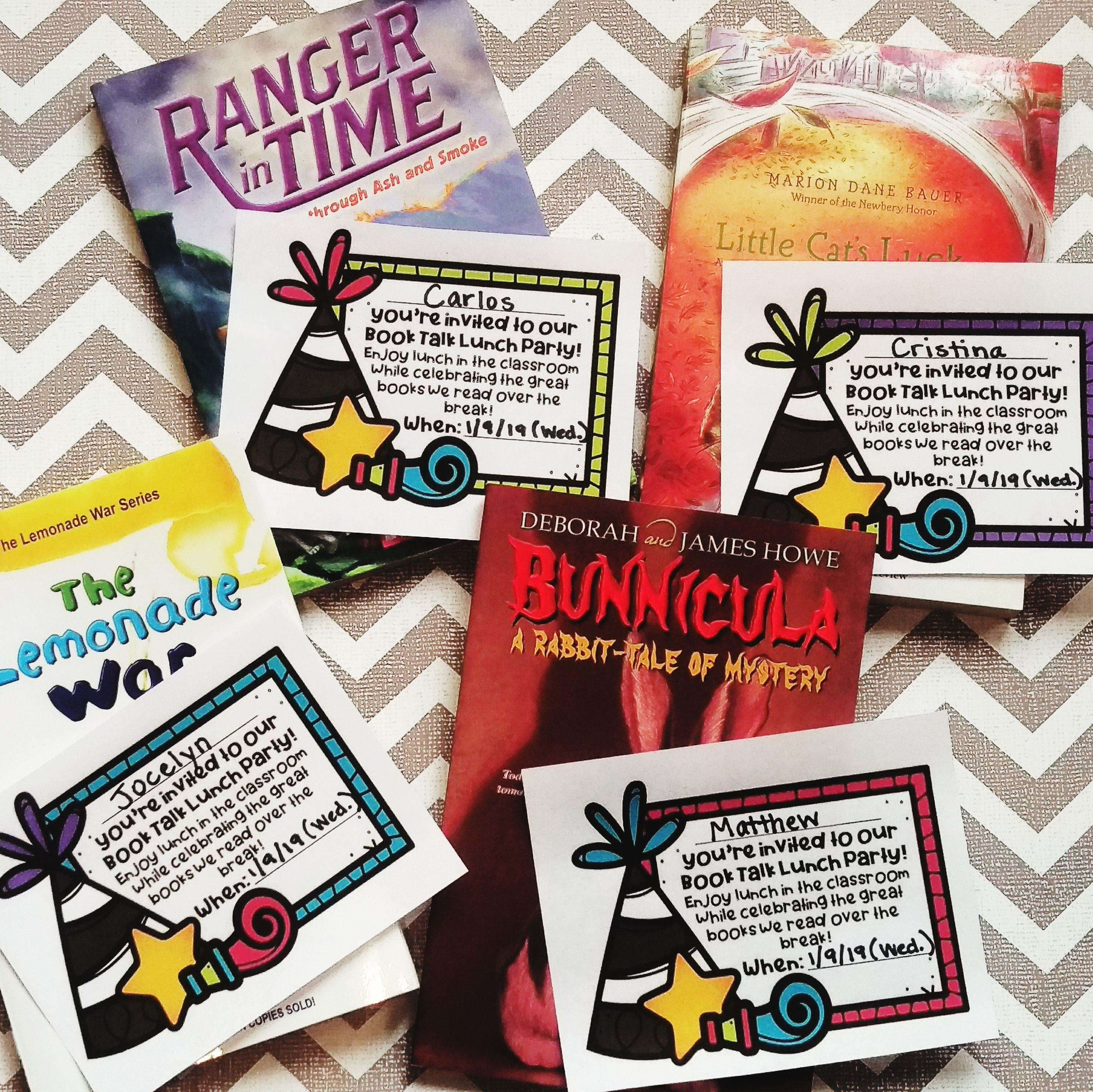 color lunch book talk invites