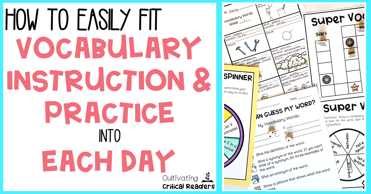 How to Easily Fit Vocabulary Instruction and Practice into Each Day