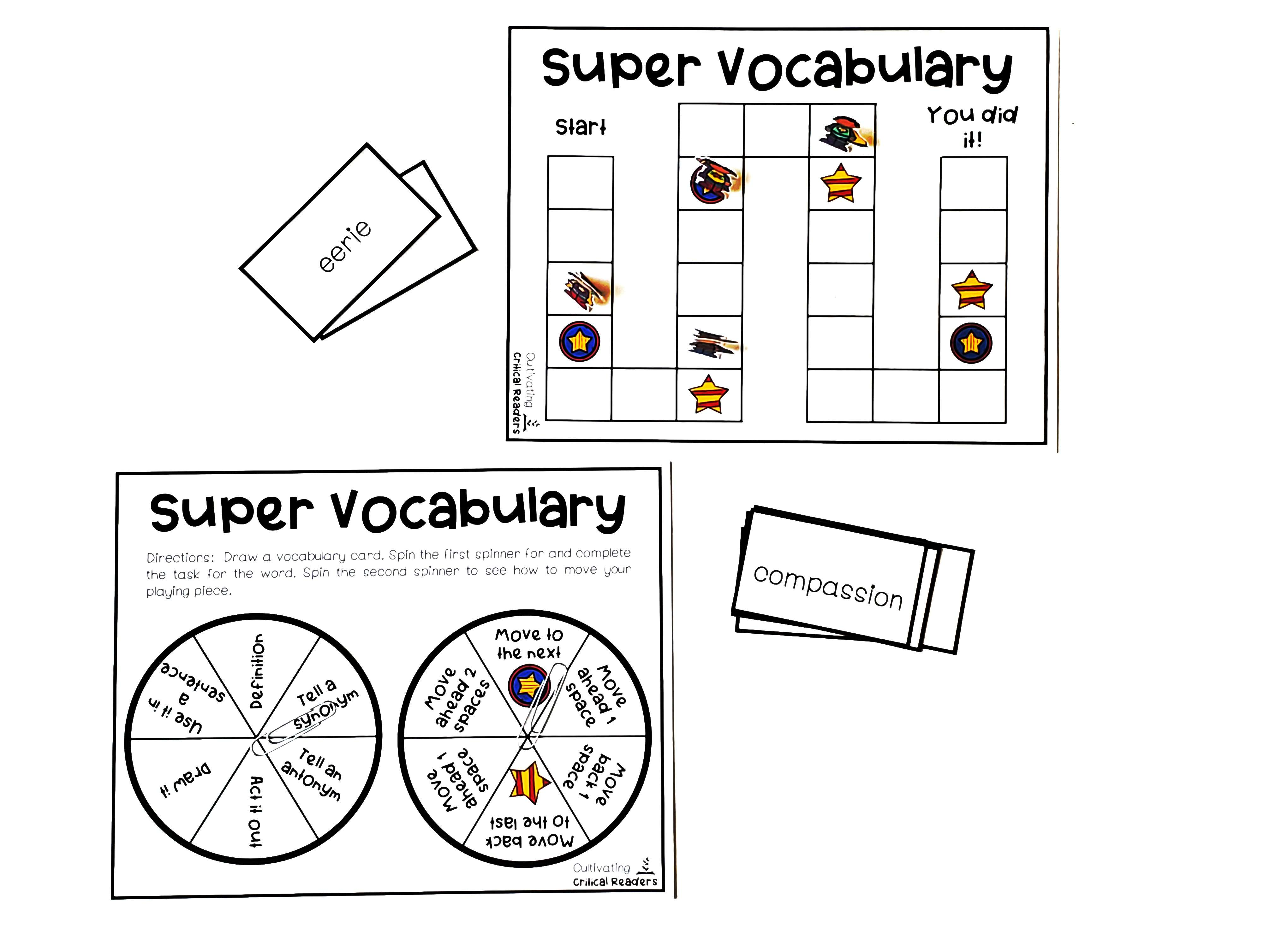 """""""Super Vocabulary"""" Board Game for Stations"""